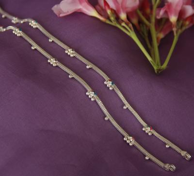Enamel Silver Anklet - By Unniyarcha - Original Manufacturers of Silver Jewelry, Gold Plated Jewellery, Fashion Jewellery and Personalized Soul Bands and Personalized Jewelry
