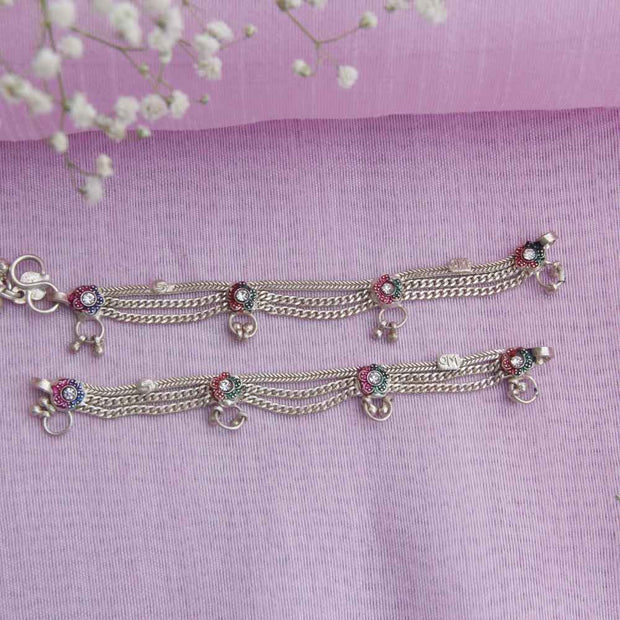 FLOWER CHAIN ANKLETS Anklets - By Unniyarcha - Original Manufacturers of Silver Jewelry, Gold Plated Jewellery, Fashion Jewellery and Personalized Soul Bands and Personalized Jewelry