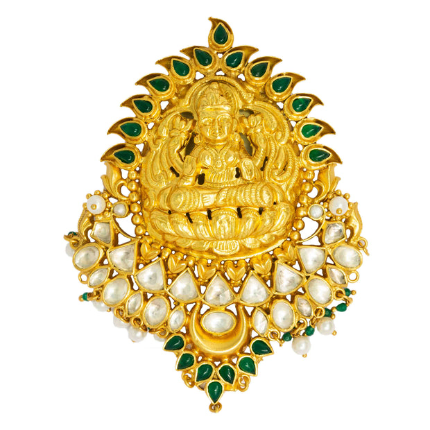 Gold Lakshmi Pendent - By Unniyarcha - Original Manufacturers of Silver Jewelry, Gold Plated Jewellery, Fashion Jewellery and Personalized Soul Bands and Personalized Jewelry