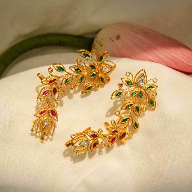 Gold Plated Lotus Kundan Earcuff Earrings - By Unniyarcha - Original Manufacturers of Silver Jewelry, Gold Plated Jewellery, Fashion Jewellery and Personalized Soul Bands and Personalized Jewelry