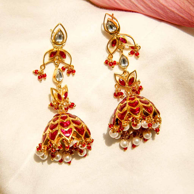 Gold Plated Silver Enameled Jhumki Earrings - By Unniyarcha - Original Manufacturers of Silver Jewelry, Gold Plated Jewellery, Fashion Jewellery and Personalized Soul Bands and Personalized Jewelry