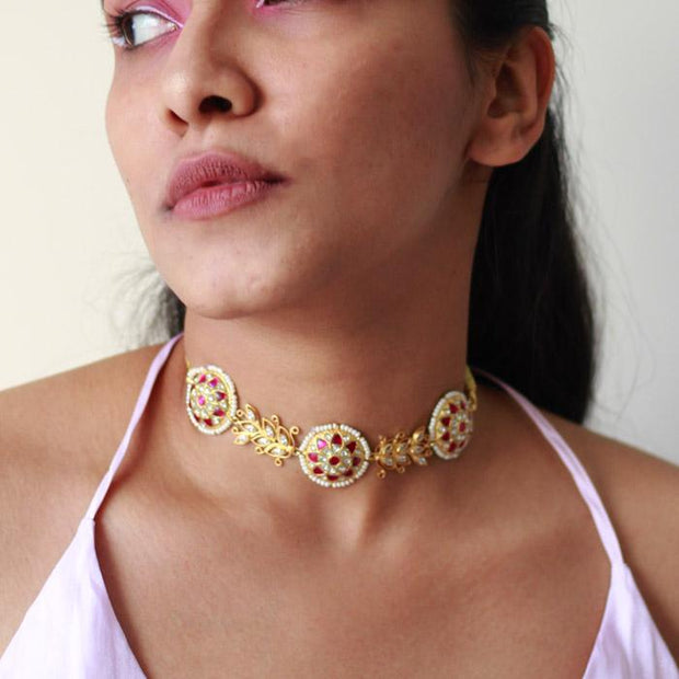 Gold Plated Silver Jadau Choker Set Necklaces - By Unniyarcha - Original Manufacturers of Silver Jewelry, Gold Plated Jewellery, Fashion Jewellery and Personalized Soul Bands and Personalized Jewelry
