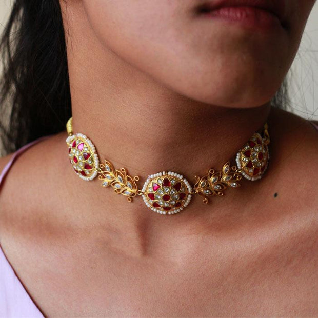 Gold Plated Silver Jadau Choker Set Necklaces Necklace - By Unniyarcha - Original Manufacturers of Silver Jewelry, Gold Plated Jewellery, Fashion Jewellery and Personalized Soul Bands and Personalized Jewelry