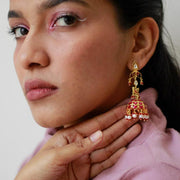 Gold Plated Silver Kundan Jhumki Earrings - By Unniyarcha - Original Manufacturers of Silver Jewelry, Gold Plated Jewellery, Fashion Jewellery and Personalized Soul Bands and Personalized Jewelry