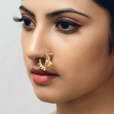 Gold Zircon Nose Pin - By Unniyarcha - Original Manufacturers of Silver Jewelry, Gold Plated Jewellery, Fashion Jewellery and Personalized Soul Bands and Personalized Jewelry