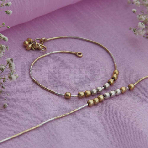 GOLDEN BEADS ANKLET Anklets - By Unniyarcha - Original Manufacturers of Silver Jewelry, Gold Plated Jewellery, Fashion Jewellery and Personalized Soul Bands and Personalized Jewelry