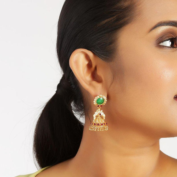 Green and Pink Silver Jhumki Earrings - By Unniyarcha - Original Manufacturers of Silver Jewelry, Gold Plated Jewellery, Fashion Jewellery and Personalized Soul Bands and Personalized Jewelry