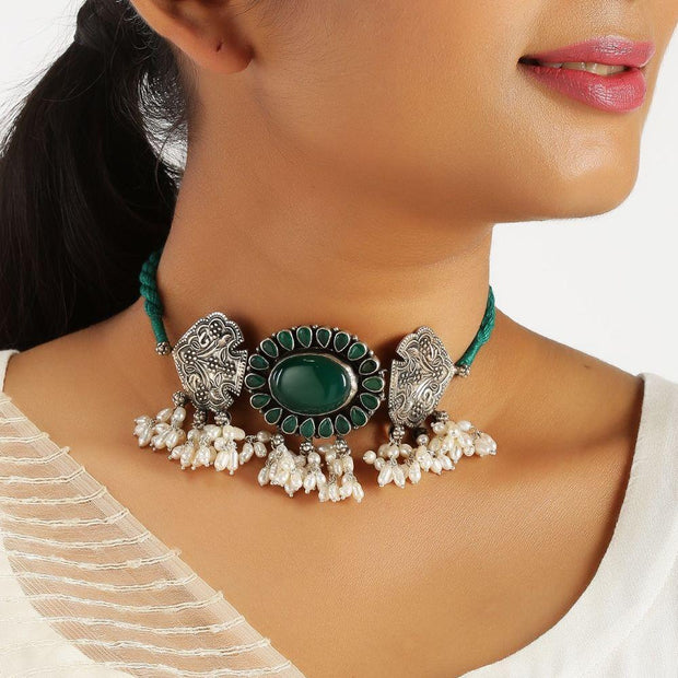 Green Onyx and Pearl Silver Choker Necklaces - By Unniyarcha - Original Manufacturers of Silver Jewelry, Gold Plated Jewellery, Fashion Jewellery and Personalized Soul Bands and Personalized Jewelry