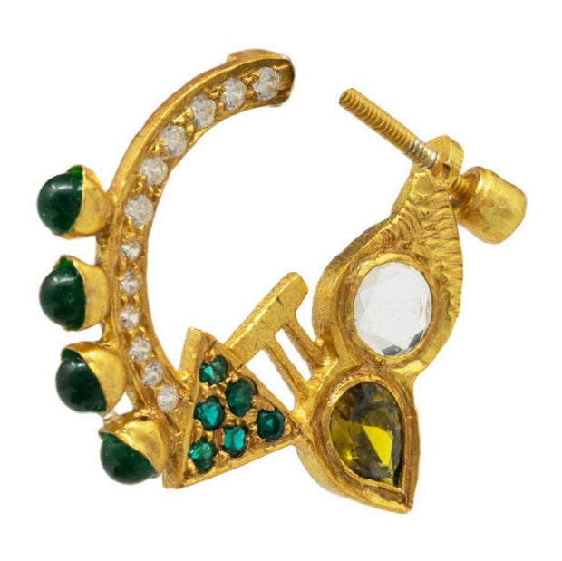 Green Zircon Nose Pin - By Unniyarcha - Original Manufacturers of Silver Jewelry, Gold Plated Jewellery, Fashion Jewellery and Personalized Soul Bands and Personalized Jewelry