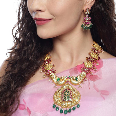 Jharoka Temple Kundan Silver 92.5 Necklace Necklaces Necklace+Earring - By Unniyarcha - Original Manufacturers of Silver Jewelry, Gold Plated Jewellery, Fashion Jewellery and Personalized Soul Bands and Personalized Jewelry
