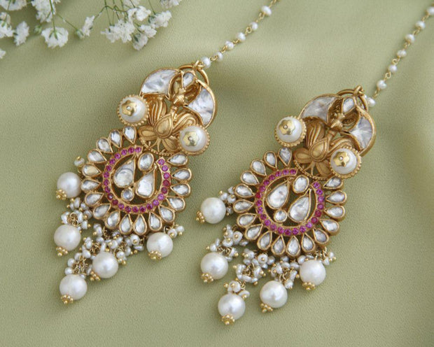 Kundan and Pearl Silver Kanauti Earrings Earrings - By Unniyarcha - Original Manufacturers of Silver Jewelry, Gold Plated Jewellery, Fashion Jewellery and Personalized Soul Bands and Personalized Jewelry