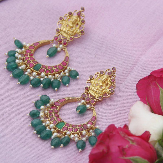 Kundan Fusion 92.5 Silver Chandbali Earrings - By Unniyarcha - Original Manufacturers of Silver Jewelry, Gold Plated Jewellery, Fashion Jewellery and Personalized Soul Bands and Personalized Jewelry