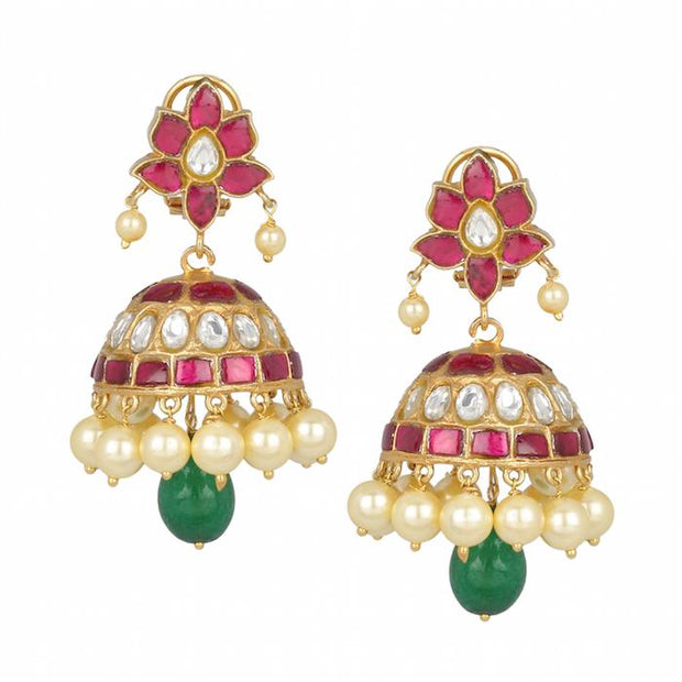Kundan Jadau Silver 92.5 Jhumka - By Unniyarcha - Original Manufacturers of Silver Jewelry, Gold Plated Jewellery, Fashion Jewellery and Personalized Soul Bands and Personalized Jewelry