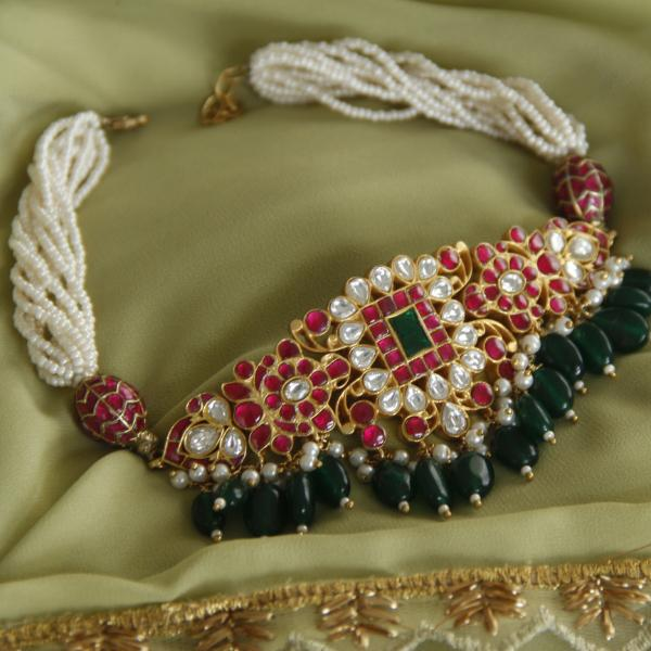 Kundan Jadau Silver Choker - By Unniyarcha - Original Manufacturers of Silver Jewelry, Gold Plated Jewellery, Fashion Jewellery and Personalized Soul Bands and Personalized Jewelry