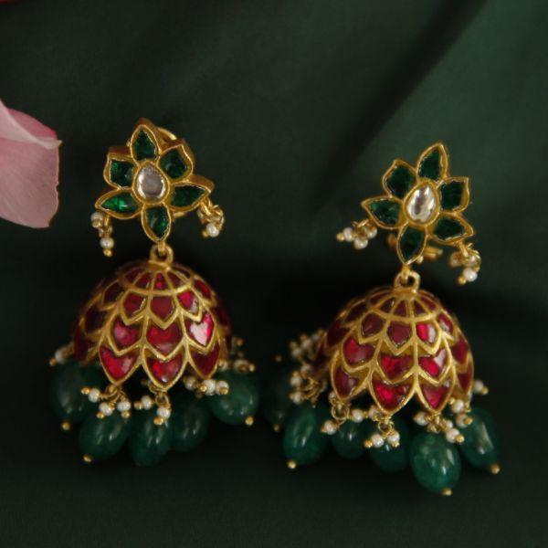 Kundan Silver 92.5 Jhumka Earrings - By Unniyarcha - Original Manufacturers of Silver Jewelry, Gold Plated Jewellery, Fashion Jewellery and Personalized Soul Bands and Personalized Jewelry