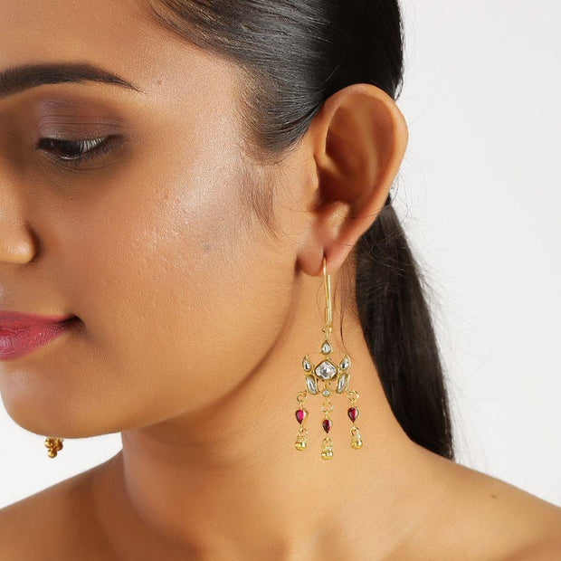 Kundan Stone Silver Earrings Earrings - By Unniyarcha - Original Manufacturers of Silver Jewelry, Gold Plated Jewellery, Fashion Jewellery and Personalized Soul Bands and Personalized Jewelry