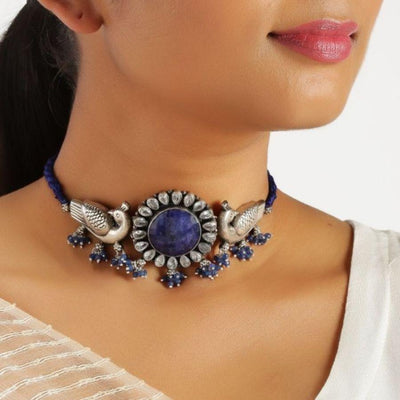 Lapis Lazuli Tribal Silver Choker Necklaces - By Unniyarcha - Original Manufacturers of Silver Jewelry, Gold Plated Jewellery, Fashion Jewellery and Personalized Soul Bands and Personalized Jewelry