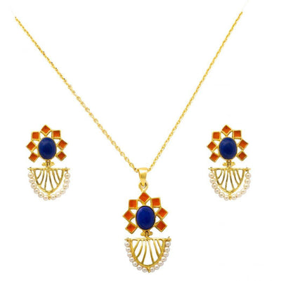 Lapis necklace set - By Unniyarcha - Original Manufacturers of Silver Jewelry, Gold Plated Jewellery, Fashion Jewellery and Personalized Soul Bands and Personalized Jewelry