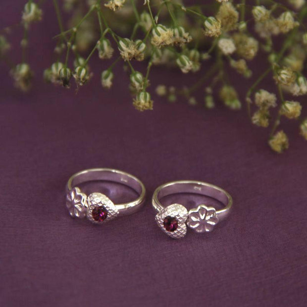 Maroon Zircon Toe RIng Toe Rings - By Unniyarcha - Original Manufacturers of Silver Jewelry, Gold Plated Jewellery, Fashion Jewellery and Personalized Soul Bands and Personalized Jewelry