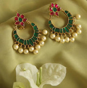 Pink And Green Kundan Chandbali - By Unniyarcha - Original Manufacturers of Silver Jewelry, Gold Plated Jewellery, Fashion Jewellery and Personalized Soul Bands and Personalized Jewelry