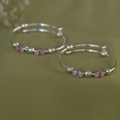 Pink Enameled Silver Bangle Baby jewelry - By Unniyarcha - Original Manufacturers of Silver Jewelry, Gold Plated Jewellery, Fashion Jewellery and Personalized Soul Bands and Personalized Jewelry