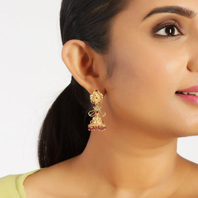 Pink Stone Silver Jhumkis Earrings - By Unniyarcha - Original Manufacturers of Silver Jewelry, Gold Plated Jewellery, Fashion Jewellery and Personalized Soul Bands and Personalized Jewelry