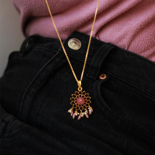 Pink Zircon Gold Plated Silver Pendant Necklaces - By Unniyarcha - Original Manufacturers of Silver Jewelry, Gold Plated Jewellery, Fashion Jewellery and Personalized Soul Bands and Personalized Jewelry