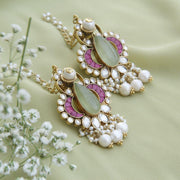 Prehnite and Kundan Gold-plated Kanauti Earrings Earrings - By Unniyarcha - Original Manufacturers of Silver Jewelry, Gold Plated Jewellery, Fashion Jewellery and Personalized Soul Bands and Personalized Jewelry
