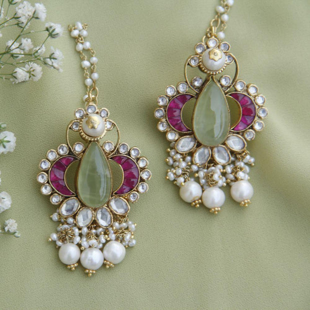 Prehnite Kundan Gold-plated Kanauti Earrings Earrings - By Unniyarcha - Original Manufacturers of Silver Jewelry, Gold Plated Jewellery, Fashion Jewellery and Personalized Soul Bands and Personalized Jewelry