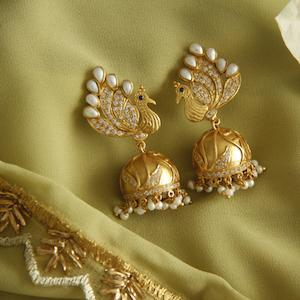 Pretty Peacock Jhumka - By Unniyarcha - Original Manufacturers of Silver Jewelry, Gold Plated Jewellery, Fashion Jewellery and Personalized Soul Bands and Personalized Jewelry