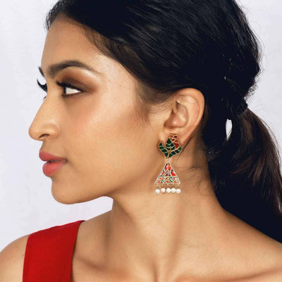 Red and Green Jadau Earring - By Unniyarcha - Original Manufacturers of Silver Jewelry, Gold Plated Jewellery, Fashion Jewellery and Personalized Soul Bands and Personalized Jewelry
