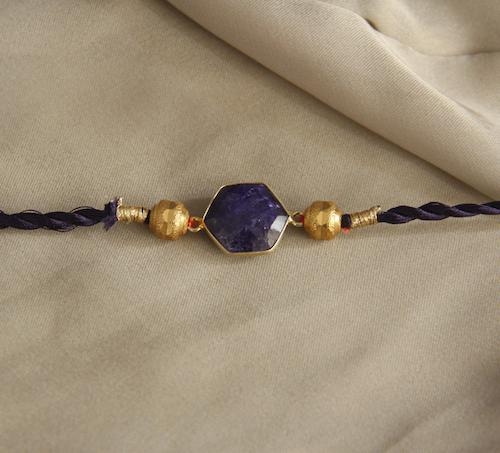 Royal Amethyst Rakhi - By Unniyarcha - Original Manufacturers of Silver Jewelry, Gold Plated Jewellery, Fashion Jewellery and Personalized Soul Bands and Personalized Jewelry