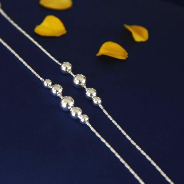 Silver 92.5 Beads Anklet Anklets - By Unniyarcha - Original Manufacturers of Silver Jewelry, Gold Plated Jewellery, Fashion Jewellery and Personalized Soul Bands and Personalized Jewelry