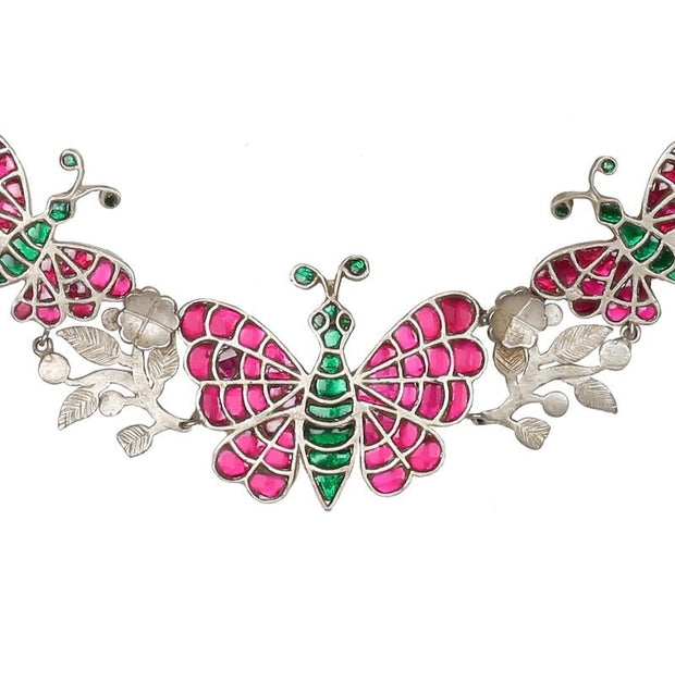 Silver 92.5 Butterfly Kundan Necklace - By Unniyarcha - Original Manufacturers of Silver Jewelry, Gold Plated Jewellery, Fashion Jewellery and Personalized Soul Bands and Personalized Jewelry