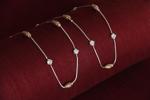Silver and Rose Gold anKLET Anklets - By Unniyarcha - Original Manufacturers of Silver Jewelry, Gold Plated Jewellery, Fashion Jewellery and Personalized Soul Bands and Personalized Jewelry