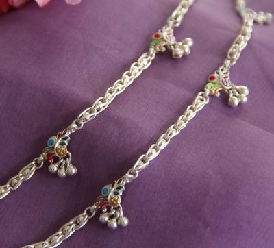 Silver Anklet With Enamel Work - By Unniyarcha - Original Manufacturers of Silver Jewelry, Gold Plated Jewellery, Fashion Jewellery and Personalized Soul Bands and Personalized Jewelry