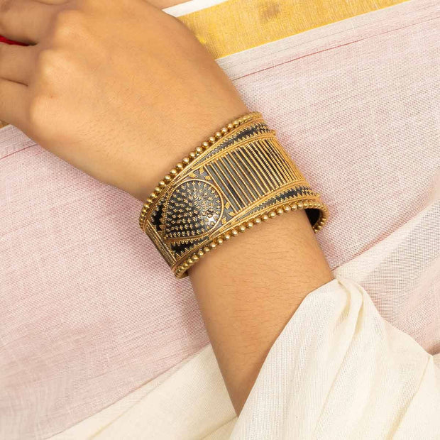 Silver Antique Gold Plated Bangle - By Unniyarcha - Original Manufacturers of Silver Jewelry, Gold Plated Jewellery, Fashion Jewellery and Personalized Soul Bands and Personalized Jewelry
