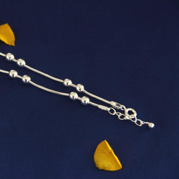 Silver Beads Anklet Anklets - By Unniyarcha - Original Manufacturers of Silver Jewelry, Gold Plated Jewellery, Fashion Jewellery and Personalized Soul Bands and Personalized Jewelry