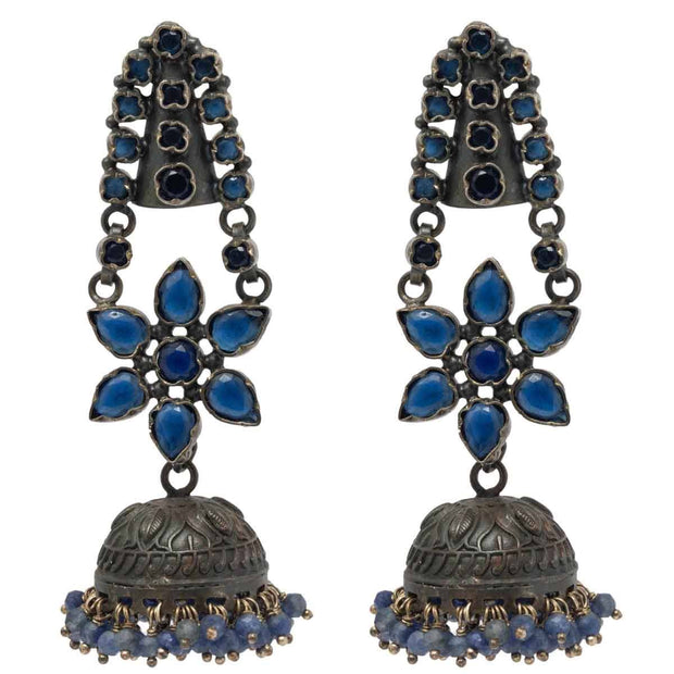 Silver Blue Jhumka Earrings - Unniyarcha Jewellery