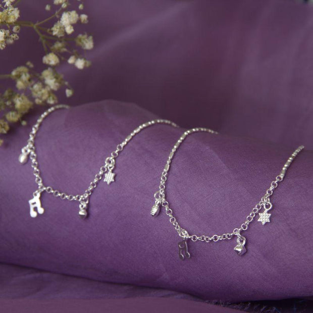 Silver charms anklets Anklets - By Unniyarcha - Original Manufacturers of Silver Jewelry, Gold Plated Jewellery, Fashion Jewellery and Personalized Soul Bands and Personalized Jewelry