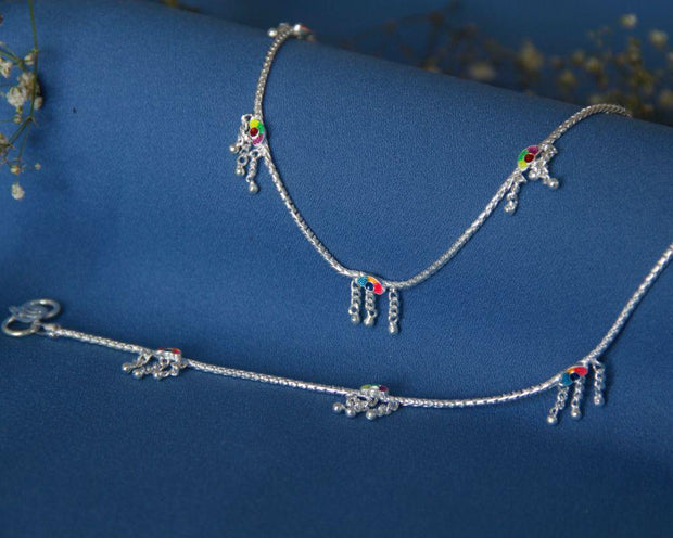 Silver Enamel Anklets Anklets - By Unniyarcha - Original Manufacturers of Silver Jewelry, Gold Plated Jewellery, Fashion Jewellery and Personalized Soul Bands and Personalized Jewelry