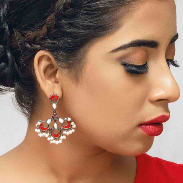 Silver Flaming Red Earring - By Unniyarcha - Original Manufacturers of Silver Jewelry, Gold Plated Jewellery, Fashion Jewellery and Personalized Soul Bands and Personalized Jewelry