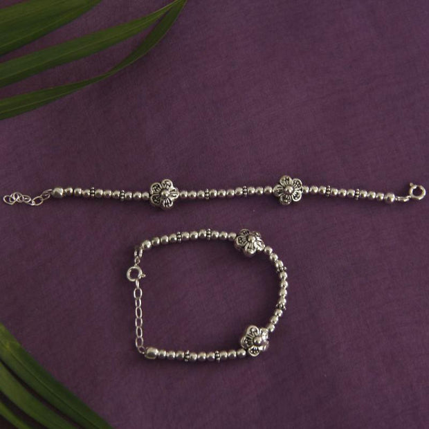 Silver flower baby anklet Baby jewelry - By Unniyarcha - Original Manufacturers of Silver Jewelry, Gold Plated Jewellery, Fashion Jewellery and Personalized Soul Bands and Personalized Jewelry