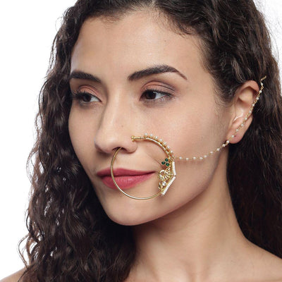 Silver Gold and green nath Nose Pins - By Unniyarcha - Original Manufacturers of Silver Jewelry, Gold Plated Jewellery, Fashion Jewellery and Personalized Soul Bands and Personalized Jewelry