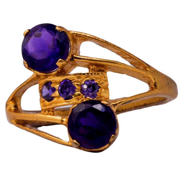 Silver Gold Plated Amethyst Ring - By Unniyarcha - Original Manufacturers of Silver Jewelry, Gold Plated Jewellery, Fashion Jewellery and Personalized Soul Bands and Personalized Jewelry