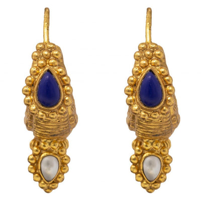 Silver gold plated antique blue earrings - By Unniyarcha - Original Manufacturers of Silver Jewelry, Gold Plated Jewellery, Fashion Jewellery and Personalized Soul Bands and Personalized Jewelry