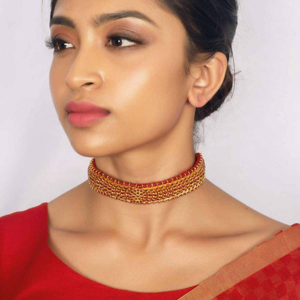 Silver gold plated antique choker - By Unniyarcha - Original Manufacturers of Silver Jewelry, Gold Plated Jewellery, Fashion Jewellery and Personalized Soul Bands and Personalized Jewelry