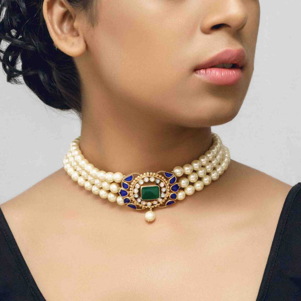 Silver Gold Plated Blue Centre Pearl Choker - By Unniyarcha - Original Manufacturers of Silver Jewelry, Gold Plated Jewellery, Fashion Jewellery and Personalized Soul Bands and Personalized Jewelry
