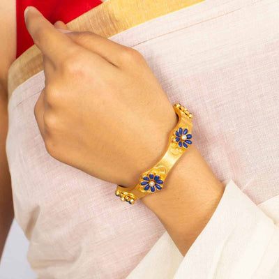 Silver Gold Plated Blue Flower Bangle - By Unniyarcha - Original Manufacturers of Silver Jewelry, Gold Plated Jewellery, Fashion Jewellery and Personalized Soul Bands and Personalized Jewelry