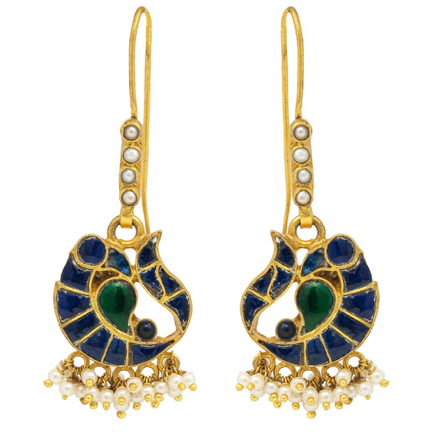 Silver Gold Plated Blue Peacock Earring - By Unniyarcha - Original Manufacturers of Silver Jewelry, Gold Plated Jewellery, Fashion Jewellery and Personalized Soul Bands and Personalized Jewelry